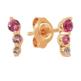 Revere 9ct Rose Gold Sterling Silver 3 Stone Stud Earrings