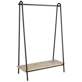 Argos Home Clothes Rail with Wood Effect Shelf - Black