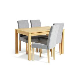 Habitat Clifton Extending Table & 4 Tweed Chairs - Grey