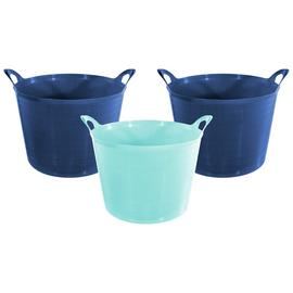 Argos Home Set of 3 27 Litre Blue Flexi Tubs