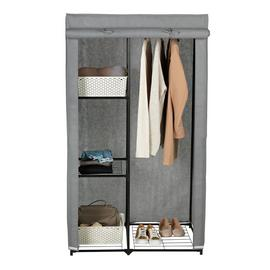 Argos Home Covered Single Wardrobe with Storage - Grey
