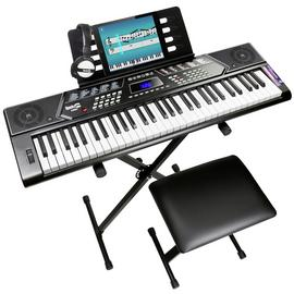 RockJam 61 Key Keyboard Piano with Stand, Stool & Headphones