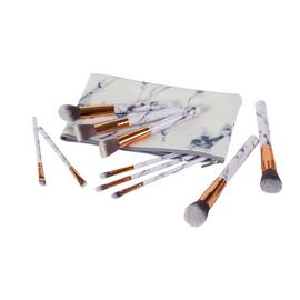 Marble Handle Makeup Brushes - Set of 10