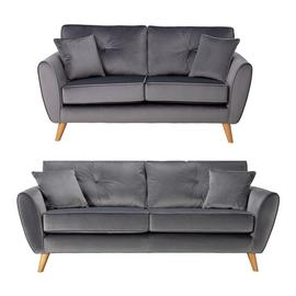 Argos Home Isla Velvet 2 Seater & 3 Seater Sofa - Grey