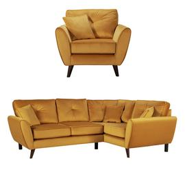Argos Home Isla Velvet Chair & Right Corner Sofa - Gold