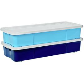 Argos Home Set of 2 45 Litre Blue Underbed Storage Boxes