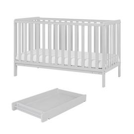 Malmo Baby Cot Bed, Cot Top Changer with Mattress - Grey