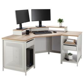 Argos Home Modular Corner Gaming Desk - Oak Effect & Grey