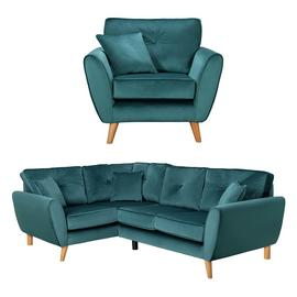 Argos Home Isla Velvet Chair & Left Corner Sofa - Teal