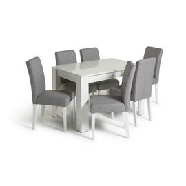 Habitat Miami Gloss Extending Table & 6 Tweed Chair -Grey