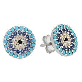 Revere Sterling Silver CZ Round Pave Stud Earrings