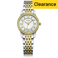 Rotary Ladies' Two Tone Gold Plated Crystal Set Watch