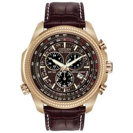 Citizen Eco-Drive Men's Brown Leather Strap Chrono Watch