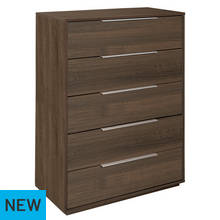 Hygena Bergen 5 Drawer Chest - Walnut Effect