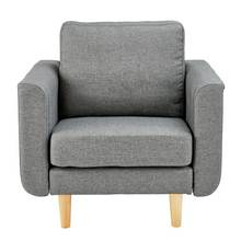 Hygena Remi Fabric Chair in a Box - Light Grey