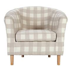 Argos Home Molly Fabric Tub Chair - Natural Check