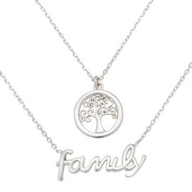 Moon & Back Sterling Silver Family Tree Layer Necklace