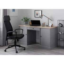 Argos Home Winchester Pedestal Desk - Grey Two Tone