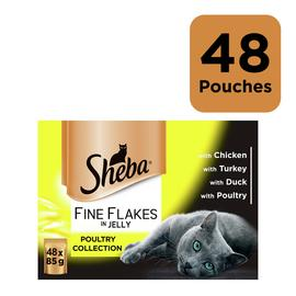 Sheba Fine Flakes Cat Food Poultry in Jelly 48 Pouches/t