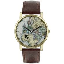 Spirit Men's ASPG23 Map Dial Brown Strap Watch