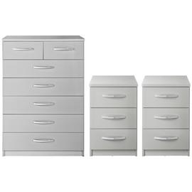 Argos Home Hallingford Gloss 2 Bedsides & 5+2 Drawer Set