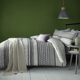 Fusion Retrace Stripe Charcoal Bedding Set - Single
