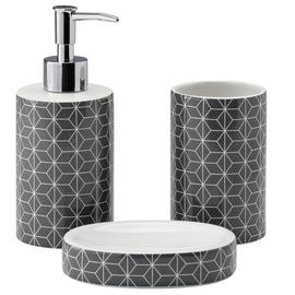 Argos Home 3 Piece Bathroom Accessory Set - Geo Grey