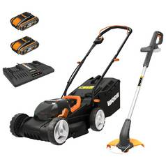 WORX WG927E Cordless 34cm Mower & Trimmer Kit - 2 Batteries