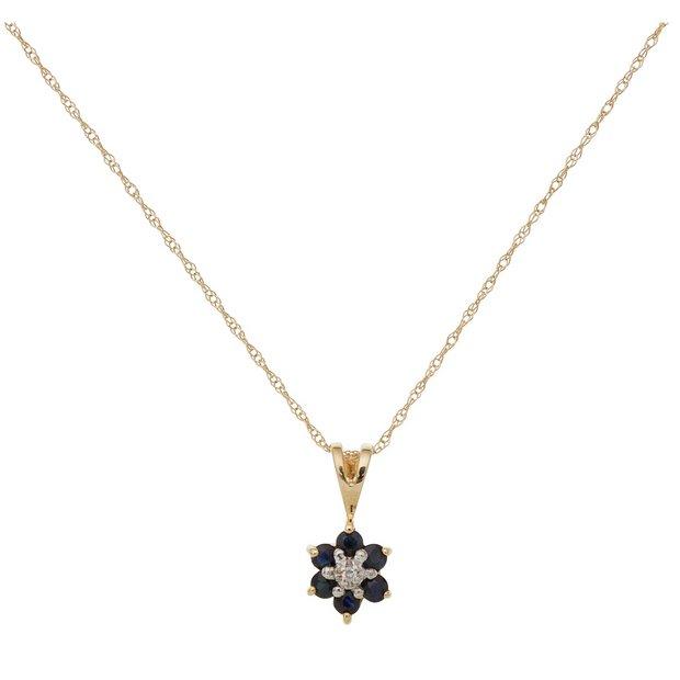 6c93d5d2920bb Buy Revere 9ct Gold Diamond Flower Pendant 18 Inch Necklace | Womens  necklaces | Argos