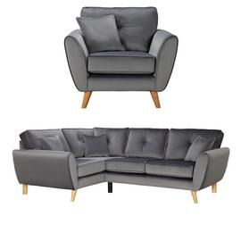 Argos Home Isla Velvet Chair & Left Corner Sofa - Grey