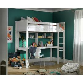 Argos Home Brooklyn White High Sleeper Bed, Desk & Shelves