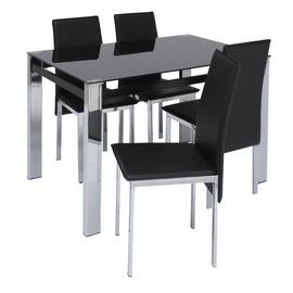 Argos Home Fitz Black Glass Dining Table & 4 Black Chairs