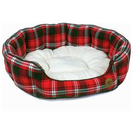 Petface Red Tartan Oval Dog Bed - Extra Large