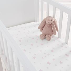 Silentnight Stars Fitted Crib Sheet 2 Pack -  Pink