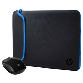 9fca290175a HP 200 Wireless Mouse and 15.6 Inch Black/Blue Sleeve Bundle