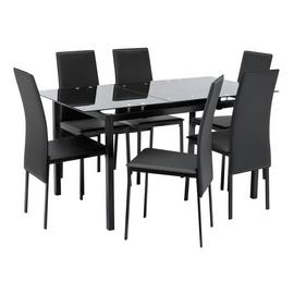 Argos Home Lido Glass Extending Table & 6 Black Chairs