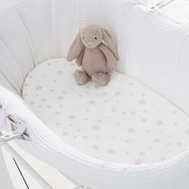 Silentnight Stars Fitted Moses Basket Sheet 2 Pack - Pink