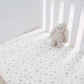 Silentnight Fitted Cotbed Sheet 2 Pack - Grey Stars