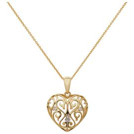 Revere 9ct Gold Diamond Heart Pendant 18 Inch Necklace