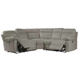 Argos Home Paolo Corner Leather Mix Power Recline Sofa -Grey