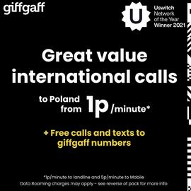 Giffaff International Pay As You Go SIM Card