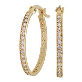 Revere 9ct Yellow Gold Oval Cubic Zirconia Hoop Earrings