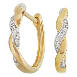 Revere 9ct Yellow Gold Diamond Accent Huggie Earrings