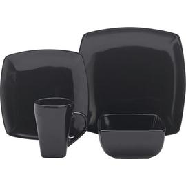 Argos Home Bosa 16 Piece Square Stoneware Dinner Set - Black