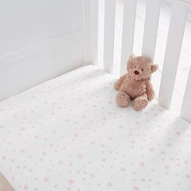 Silentnight Fitted Cot Sheet 2 Pack - Pink Stars