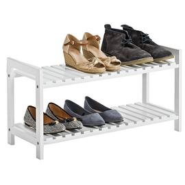 Argos Home 2 Tier Shoe Rack - White