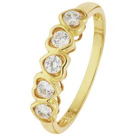 Revere 9ct Gold Cubic Zirconia Heart Eternity Ring