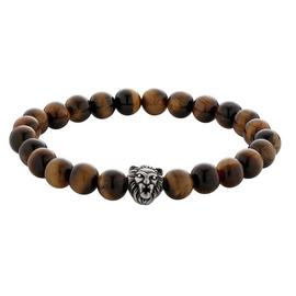 Revere Men's Stainless Steel Tigers Eye Lion Head Bracelet