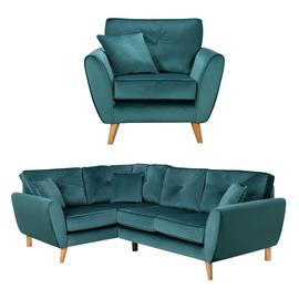 Argos Home Isla Velvet Chair & Right Corner Sofa - Teal