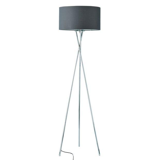 Buy Argos Home Tripod Floor Lamp Chrome & Grey | Floor lamps | Argos